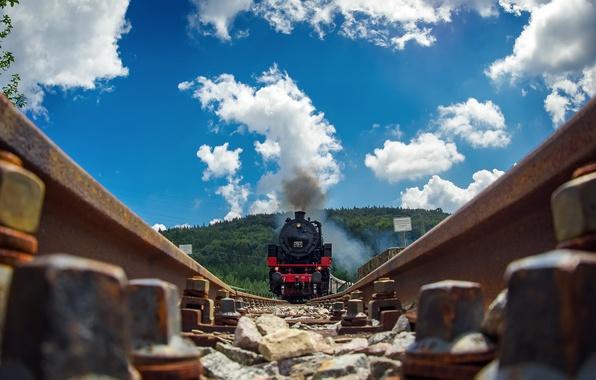Картинка дорога, рельсы, поезд