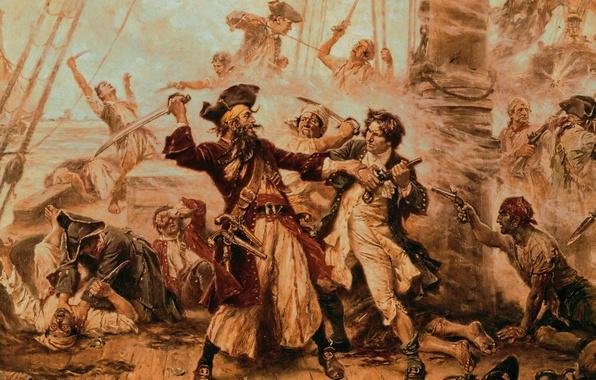 Картинка корабли, Пираты, битва