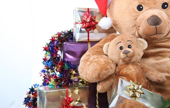 Картинка праздник, коробка, игрушки, новый год, рождество, медведь, подарки, christmas, new year, гирлянда, бант, коробки