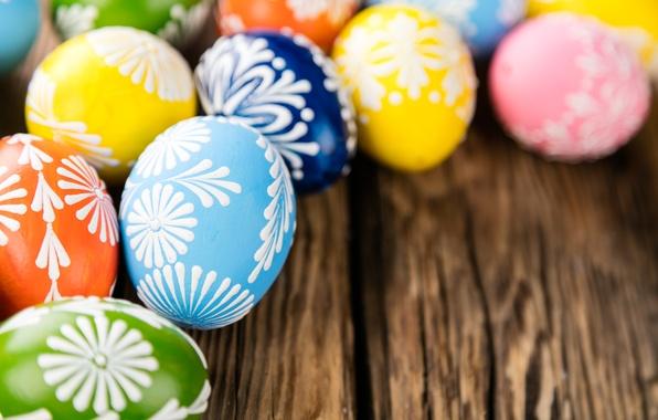 Картинка яйца, весна, colorful, Пасха, happy, wood, spring, Easter, eggs, holiday