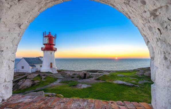 Картинка море, закат, маяк, Норвегия, Norway, Северное море, North Sea, Линнеснес, Маяк Линдеснес, Lindesnes Lighthouse, Lindesnes