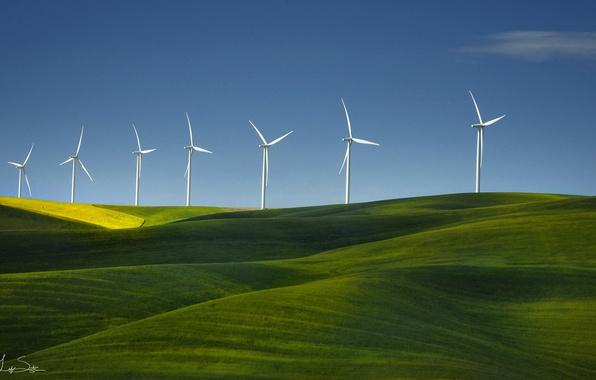 Картинка поле, трава, природа, ветряки