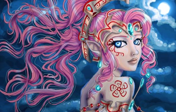 Картинка взгляд, лицо, фантастика, волосы, эльф, платье, розовые, уши, принцесса