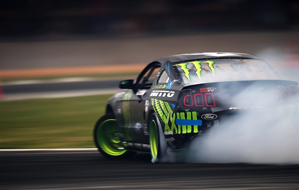 Картинка Mustang, Ford, Green, Black, RTR, Monster Energy, Smoke, Team, Motion, Competition, Formula Drift, Sportcar, Vaughn …