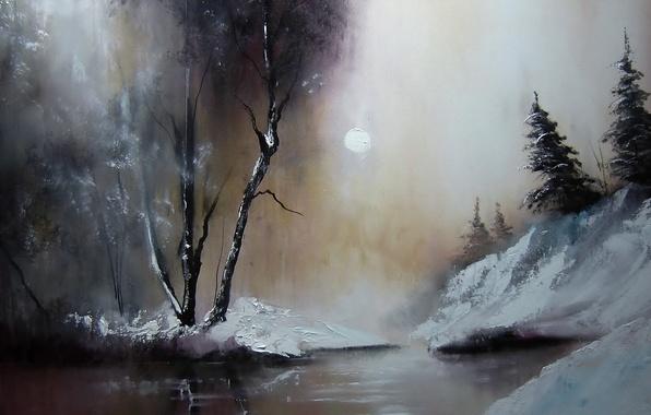 Картинка деревья, природа, картина