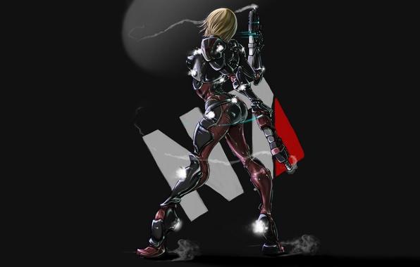 Картинка девушка, оружие, дым, костюм, Mass Effect, простой фон