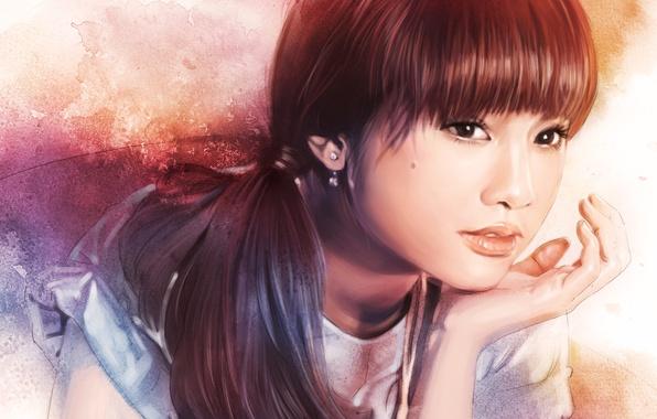 Картинка глаза, взгляд, девушка, лицо, волосы, рука, серьги, арт, живопись, хвостик, Rainie Yang
