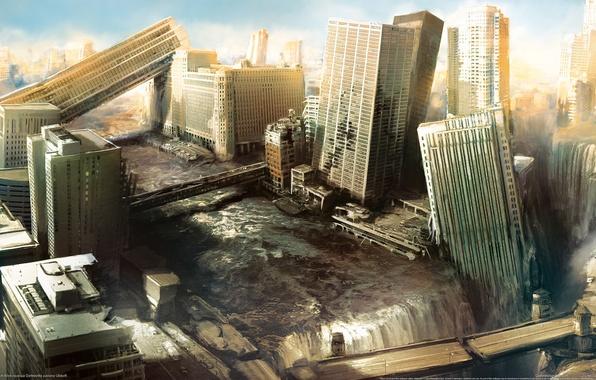 Картинка апокалипсис, разрушения, небоскребы, Город, руины, i am alive