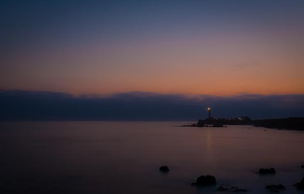 Картинка море, вода, свет, ночь, огни, океан, берег, пейзажи, маяки