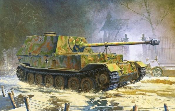 Картинка рисунок, немцы, сау, вермахт, самоходно-артиллерийская установка, истребитель танков, elefant, элефант, Sd.Kfz.184