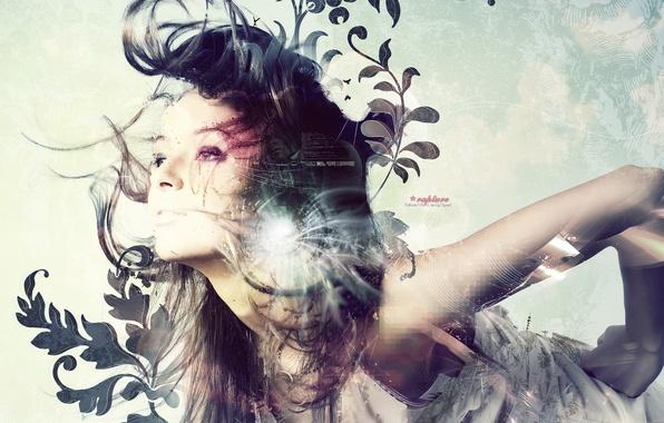 Картинка взгляд, девушка, свет, абстракция, лицо, волосы, вектор
