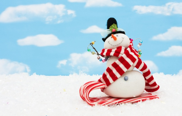Картинка небо, облака, снег, шарф, Рождество, Новый год, снеговик, new year, Christmas, sky, clouds, snow, snowman, …