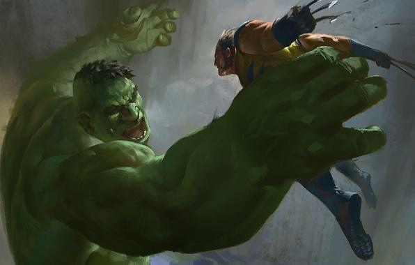 Картинка Hulk, Wolverine, X-Men, art, marvel comics