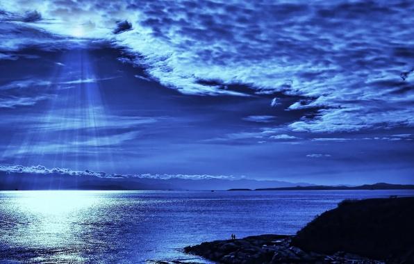 Картинка море, небо, вода, облака, лучи, пейзаж, ночь, природа, отражение, река, люди, берег, блеск, человек, остров, …