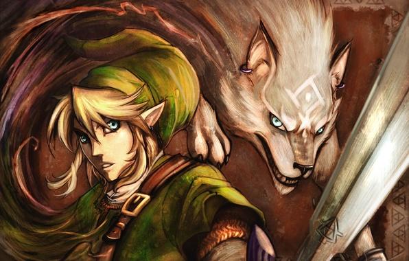 Картинка магия, волосы, эльф, меч, ремень, уши, серьга, The Legend of Zelda, Link, белый волк
