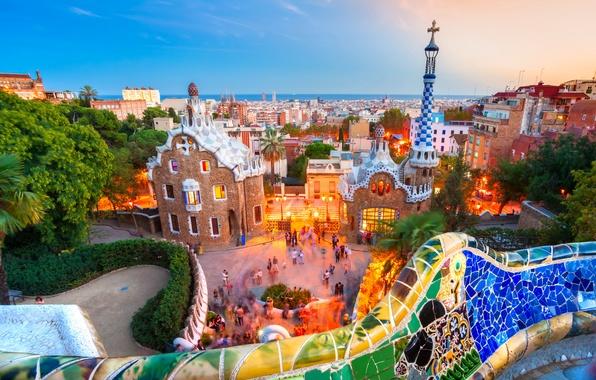 Картинка море, закат, дизайн, огни, парк, дома, вечер, горизонт, фонари, Испания, Барселона