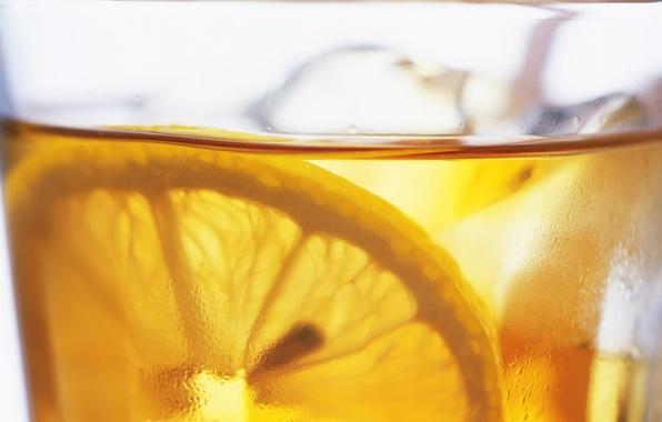 Картинка Капли, Лимон, Лед, Напиток