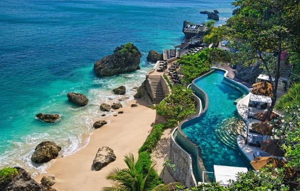 Картинка море, пляж, океан, побережье, бассейн, Бали, Индонезия, камни., nature, лежаки, pools, Bali, Indonesia