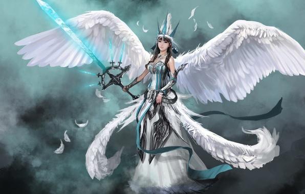 Картинка девушка, оружие, фантастика, крылья, ангел, меч, перья, арт, angel