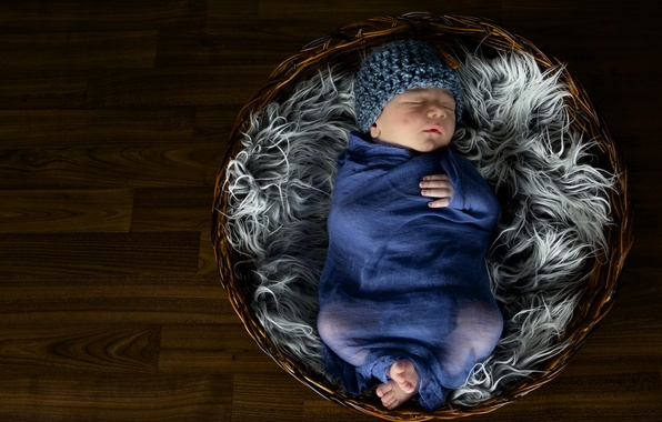 Картинка настроение, корзина, младенец