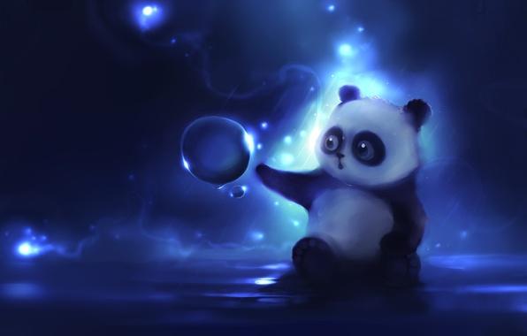Картинка рисунок, шарик, мишка, панда, любопытство, apofiss, author