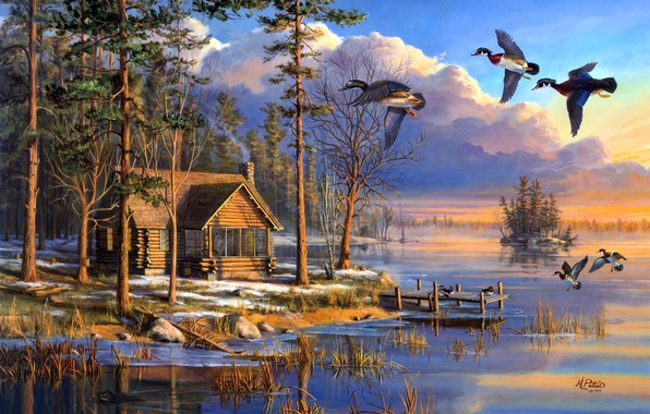 Картинка house, forest, flying, lake, sunrise, painting, spring, Mary Pettis, ducks, Spring Arrivals