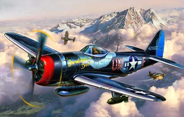 Картинка самолет, истребитель, бой, арт, художник, воздушный, США, бомбардировщик, ВВС, Thunderbolt, P-47, WW2, Republic, небе, Michal …