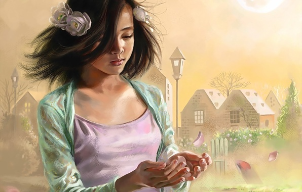Картинка ветер, лепестки, девочка