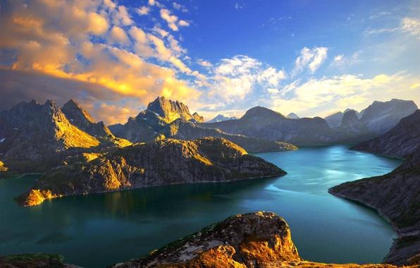 Картинка море, облака, закат, озеро, Горы, Норвегия, stein liland, фьорды