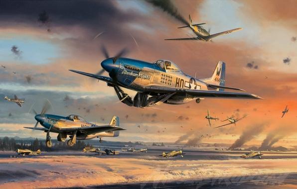 Картинка самолет, Mustang, Истребитель, Мустанг, painting, WW2, P-51 Mustang, aircraft art