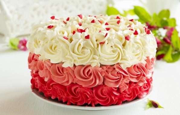 Картинка сладость, торт, крем, листики, выпечка, сахарные сердечки