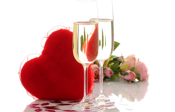 Картинка фото, Сердце, Бокалы, Розы, Еда, День святого Валентина, Разное, Шампанское