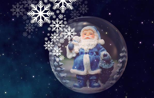 Картинка небо, космос, звезды, полет, снежинки, ночь, огни, фон, праздник, вселенная, игрушка, новый год, шар, рождество, …