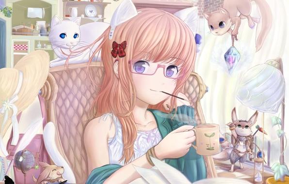 Картинка кот, котик, аниме, очки, девочка, книга, шляпка, неко, зайчик, бантик, ушки, зверюшки, белочка