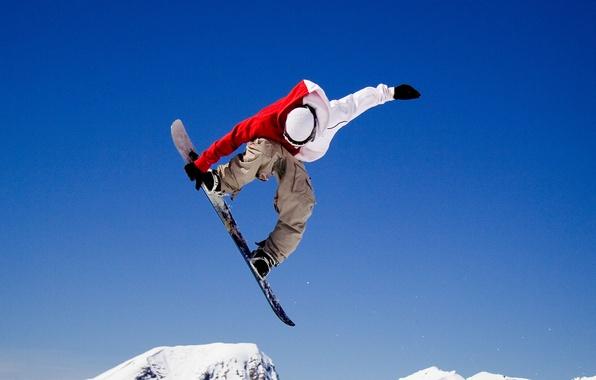 Картинка зима, полет, прыжок, трюк, Сноубордист
