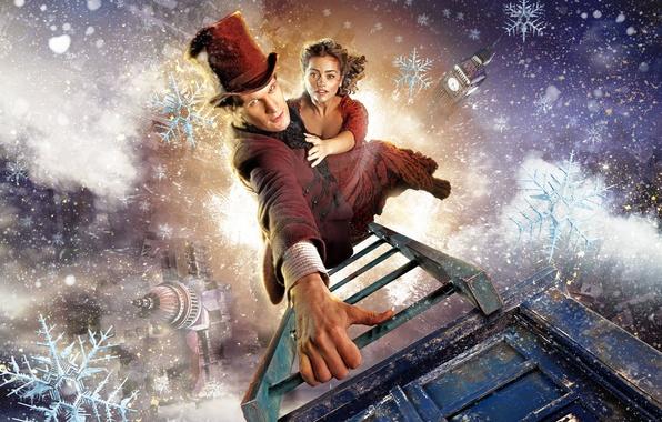 Фото обои Одиннадцатый Доктор, шляпа, Мэтт Смит, лестница, Matt Smith, зима, рождество, сериалы, Jenna-Louise Coleman, Доктор Кто, ...