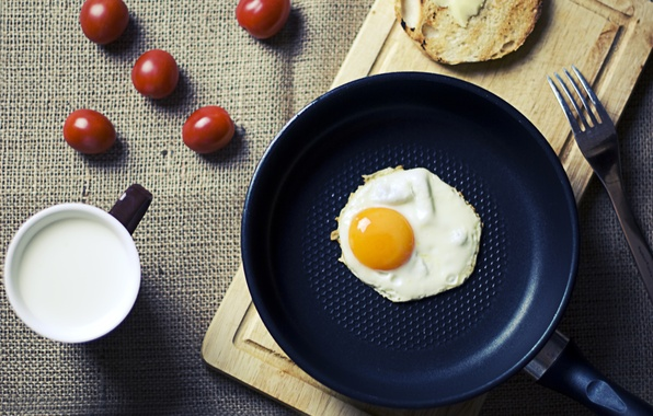 Картинка яйцо, завтрак, утро, молоко, яичница, помидоры, food, morning, cup, cherry, fork, breakfast, milk, глазунья, tomatoes, …