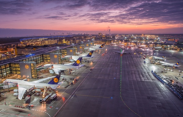 Картинка Germany, Sunrise, Frankfurt Airport