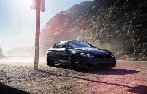 Картинка BMW, Car, Front, Black, Sun, Wheels, F82, HRE, Grigio, Medio
