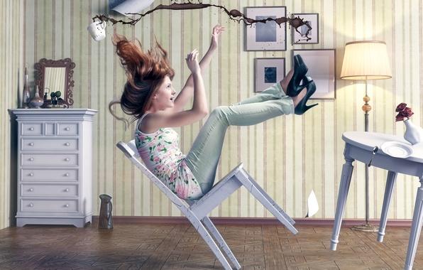Картинка девушка, комната, кофе, ситуация, стул, чашка, падает