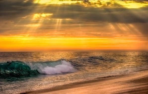 Картинка море, волны, вода, закат, природа, океан, sky, sea, ocean, nature, sunset, water, wave