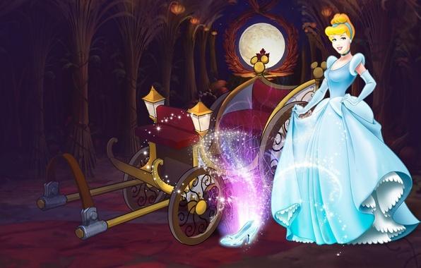 Картинка сияние, сказка, платье, тыквы, карета, Хэллоуин, Disney, сумерки, Золушка, Дисней, Cinderella, special edition, хрустальная туфелька
