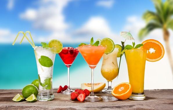 Картинка лето, ягоды, апельсин, бокалы, клубника, зонтики, лайм, фрукты, цитрусы, коктейли, трубочки, дыня, мохито, cocktails, пина …