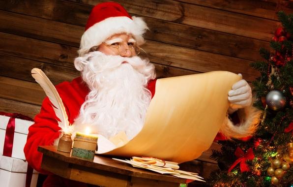 Картинка письмо, бумага, стол, комната, перо, праздник, новый год, подарки, ёлка, Санта Клаус, Дед Мороз, чернильница