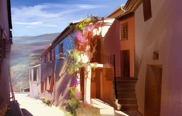 Картинка улица, дома, арт, Португалия, городок, солнечно, Anastasia Bulgakova