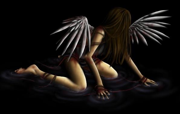 Картинка вода, девушка, фантастика, крылья, ангел, черный фон
