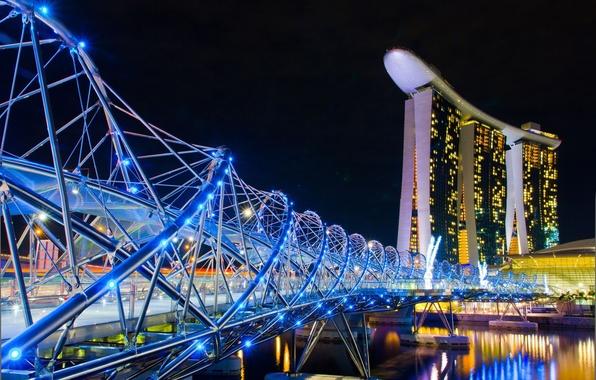Картинка ночь, город, Сингапур, отель, казино, Singapore, мост.