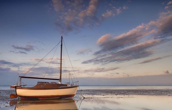 Картинка море, корабль, парусник, грязь, мель