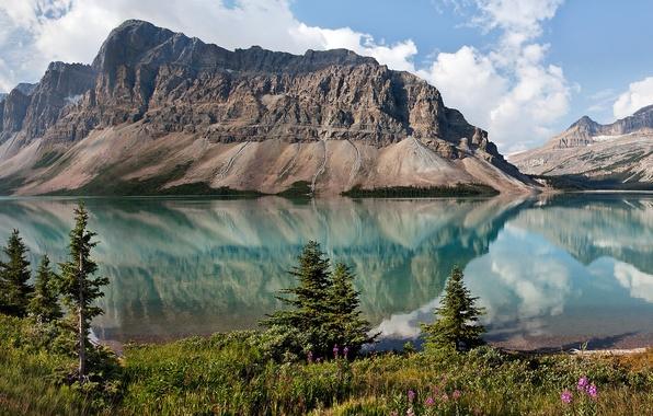Картинка небо, деревья, горы, природа, озеро, канада, альберта, Bow Lake