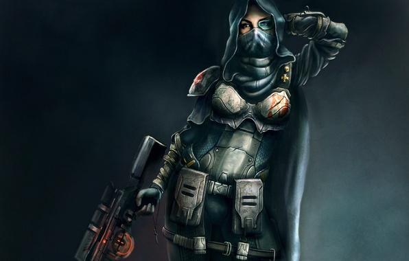 Картинка девушка, оружие, арт, капюшон, броня, снайпер, плащ, винтовка, крестик